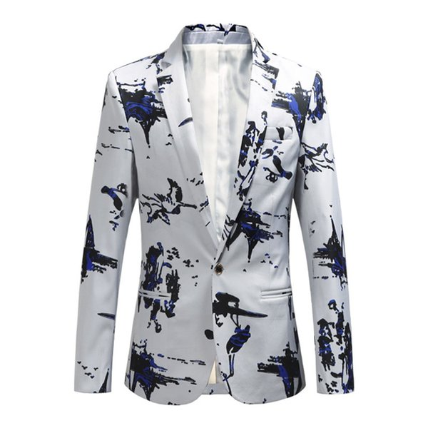Plus size 5XL 6XL Fashion Men Slim fit Casual blazers men printing suits coat man clothes White Navy New Wine red Spring