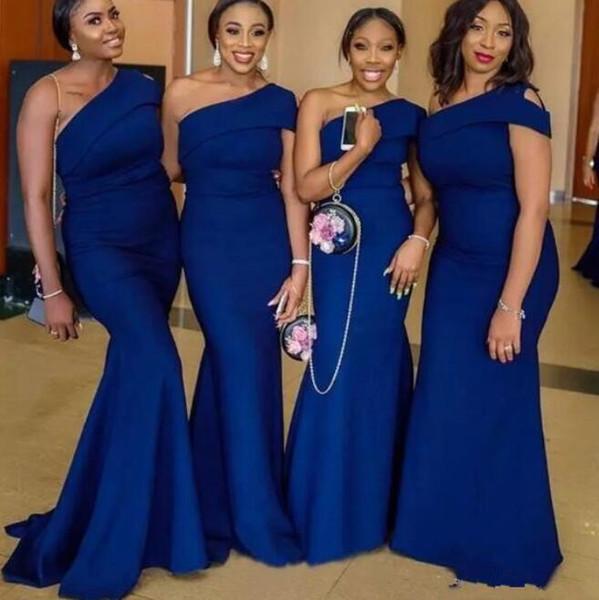 Eine Schulter Meerjungfrau Brautjungfernkleider Plus Size Sweep Zug Königsblau Afrikanischen Garten Land Hochzeitsgast Kleider Trauzeugin Kleid