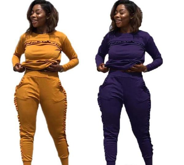 Hot New New desporto ao ar livre Define Suits Mulheres corredor da ginástica fato de duas peças sólidas De Manga Longa Workout roupas para mulheres Street Style Clothes