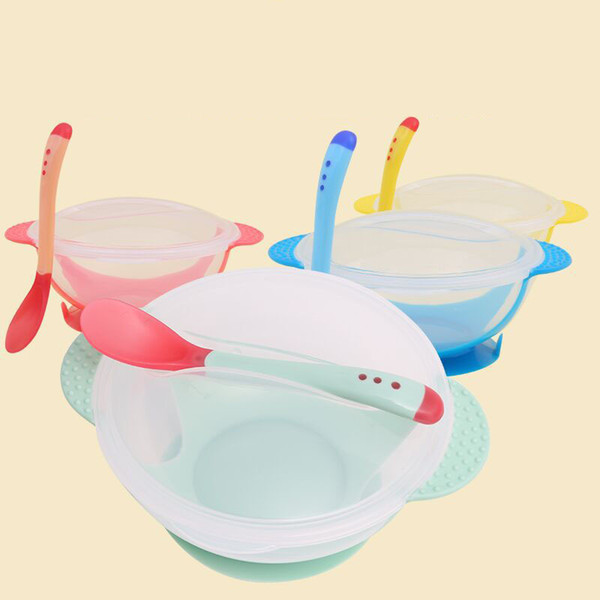 3Pcsset Baby Tableware Dinnerware Suction Bowl with Temperature Sensing Spoon baby food Baby dinner Feeding Bowls dishes