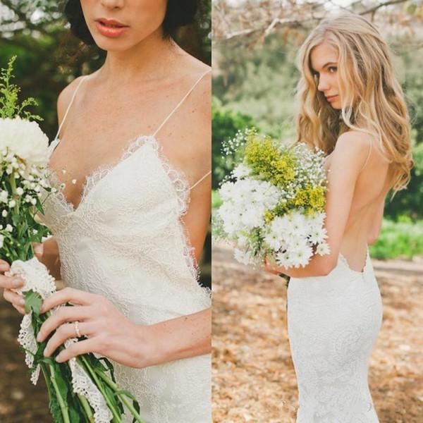2019 Sexy Mermaid Spaghetti Open Back Pleat Lace Wedding Dresses Custom Made Hot Sale Elegant New Desigher Dresses vestidos de fiesta