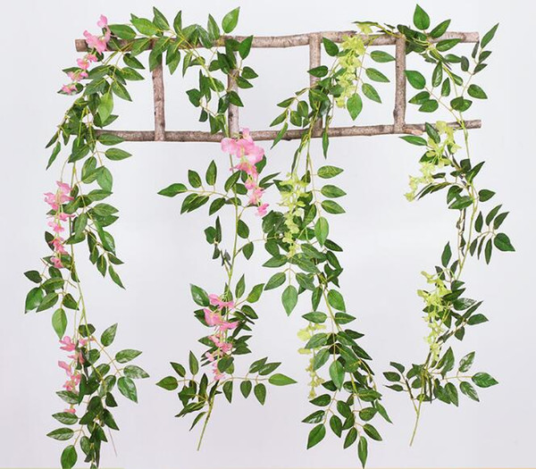 Artificial ivy flowers Silk Flower Wisteria Vine flower Rattan for Wedding Centerpiece Decorations 2M long five colors Garland Home Ornament