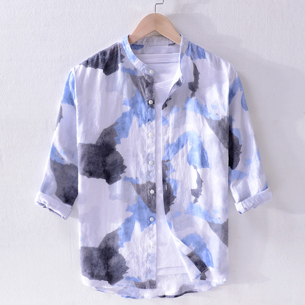 New style Italy brand shirts men fashion spring summer 100% linen shirt mens casual stand collar shirt male tops camisa camiseta