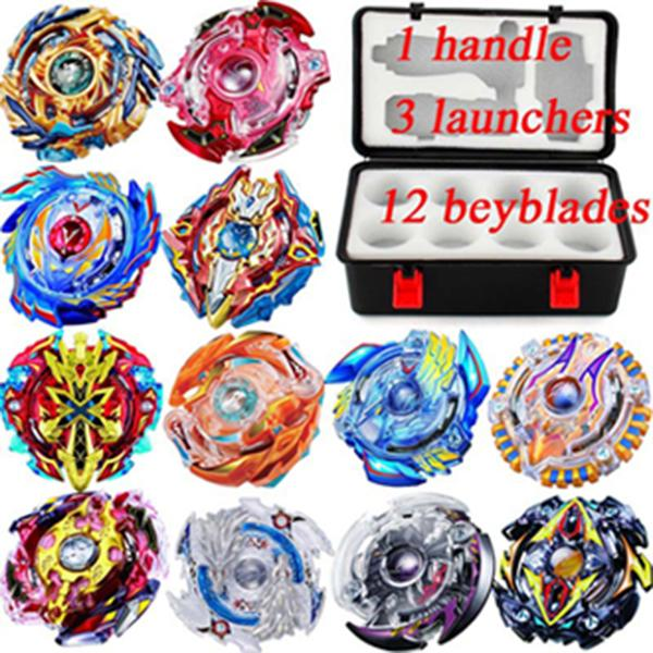 best selling 12 Beyblades Set New Beyblade Burst Bey Blade Toy Metal Funsion Bayblade Set Storage Box With Handle Launcher Plastic Box Toys For Children