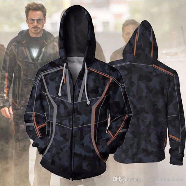 697fa467 Designer Hoodie Avengers Mens Hoodie Sweater Iron Man Tony Stark 3D Digital  Print Cosplay Deluxe Zip