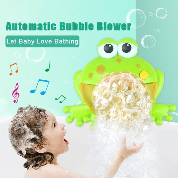 2018 caliente de la momia del bebé Máquina de burbujas Máquina de burbujas grandes ranas automática Bubble Maker soplador baño de juguete Música para el bebé L1016 V191206