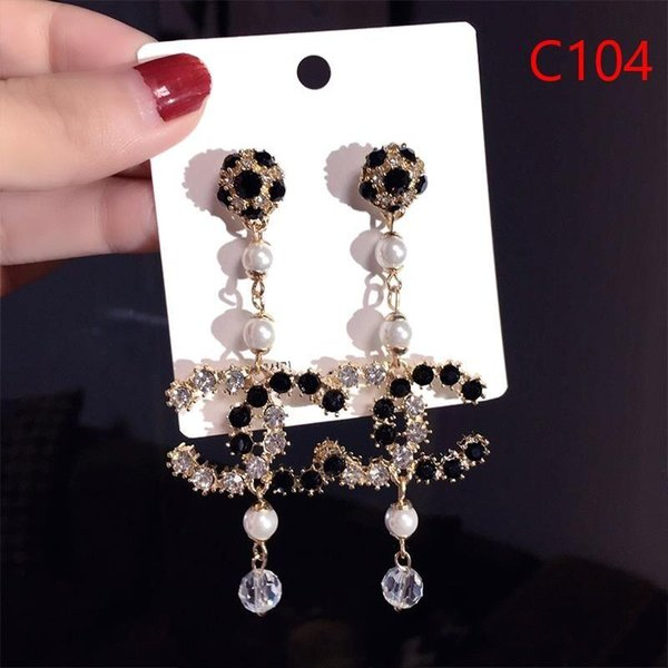 New Designer Full Rhinestone Letter Beautiful beautiful Earrings For Women fashion Stud Earring Jewelry Gifts Gold and silver