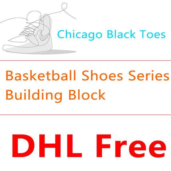 BALODY Mini Building Block Basketball Shoes Series Chicago Black Toe Buckle Broken Lightning AJ Sneakers Miniature Diamond Blocks Puzzle Toy