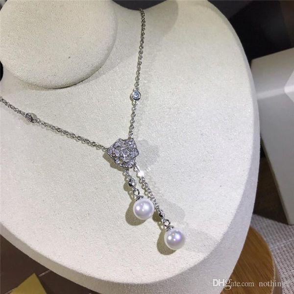 Colliers Rose luxe S925 pendentif en argent sterling Colliers de perles d'eau douce pour les femmes Party cadeau de mariage