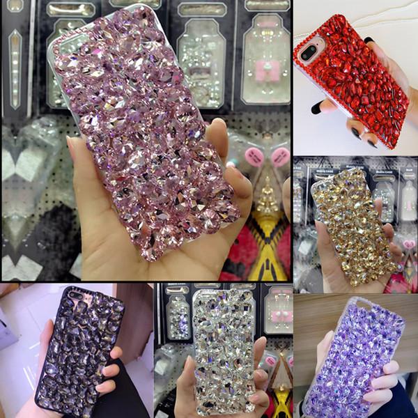 Luxury Shiny Plain Diamond Fitted Phone Cover Case For LG G7 G6 Q6 V10 V20 V30 X Style Phone skins