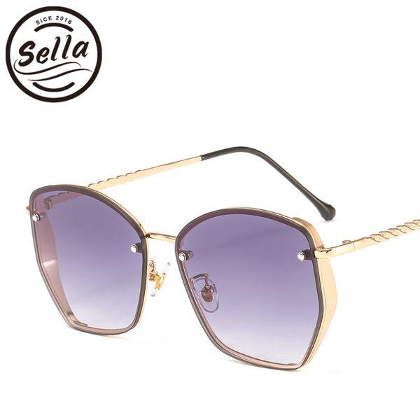 Sella Sunglasses Women 2019 Fashion Luxury Brand Vintage Irregular Square Ocean Color Gradient Lens Sun Glasses Shade For Men