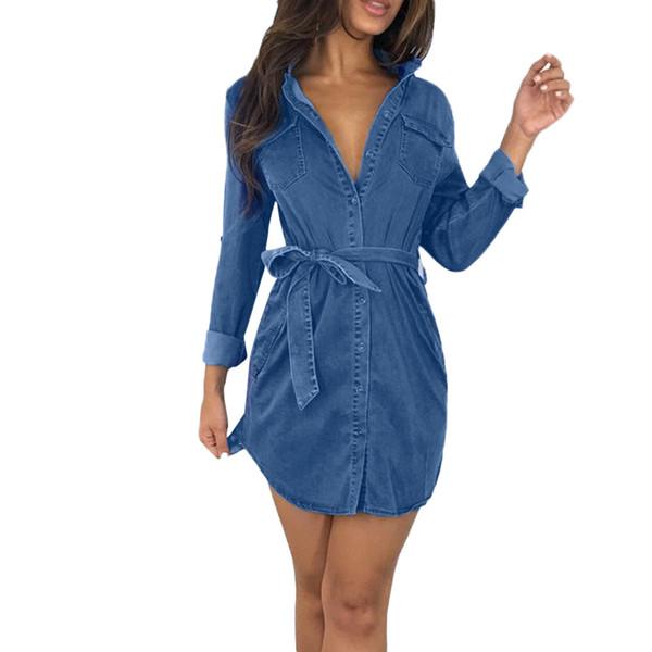 Compre Feitong Personalizado Para Mujer Button Down Denim Vestido Para Mujer Con Cinturón Jeans Tops Largos Camisa Vestidos Vestidos Mujer 2019