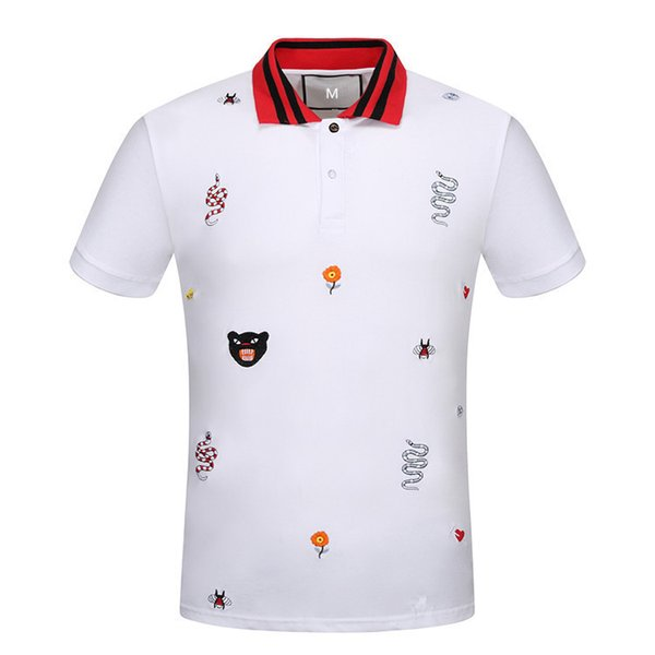 top popular 2019 free shipping Luxury Italy Shirt T-shirt High Street Embroidery T shirts For Men Snake Bee Tiger Brand shirt Shirt Men 2019