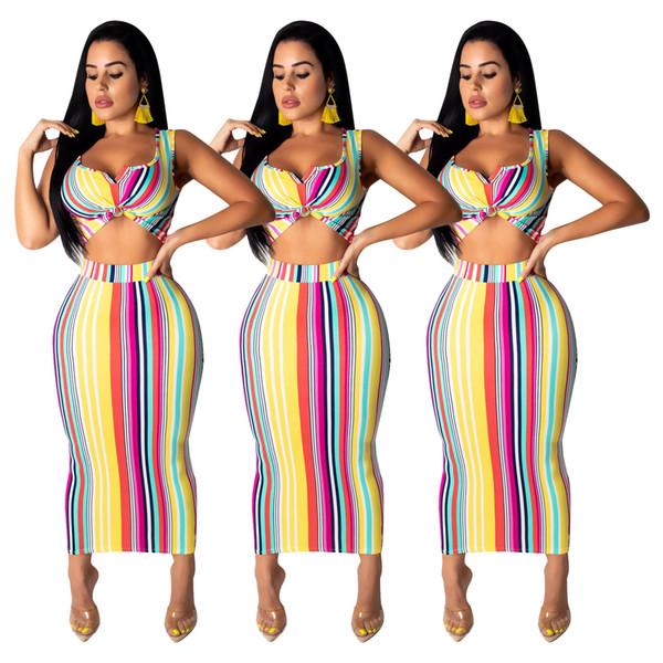 2019 nuevas mujeres del verano sin mangas de rayas bodycon midi maxi falda traje de dos piezas conjunto moda sexy vestido largo vestidos