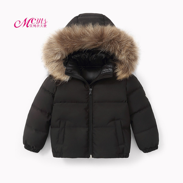 Children Winter Jackets For Girls Warm Down Coat For Boys Fur Hooded Outerwear Baby Clothing Kids Parka Jacket 4 6 8 10 11 Years Black Coats For Girls