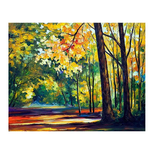 """36""""x48"""" Canvas oil painting handpainted birch tree forest living room sofa background wall decoration painting European painting forest road"""