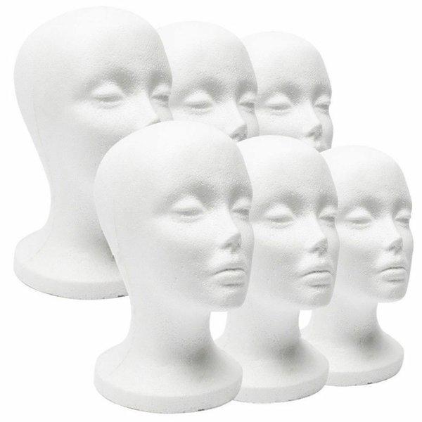 New Prático Espuma Branca Feminino Manequim Cabeça Perucas de Cabelo Óculos Cap Display Titular Stand Modelo Manequim Chapéu Estande de Isopor