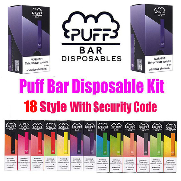top popular Puff Bar Disposable Device Pod Starter Kit 280mAh Battery 1.3ml Cartridge Vape Empty Pen With Security Code PK Posh Plus Pop Kits 2020
