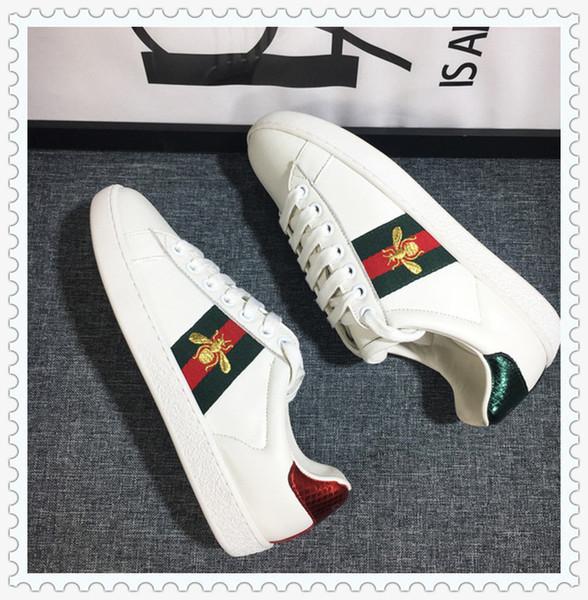 G113 GG 2019 Moda Scarpe di lusso di marca degli uomini delle donne di stampa vera pelle scarpe da tennis dei fannulloni unisex pattini piani casuali