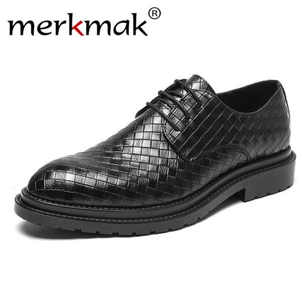 merkmak Mode Affaires Robe Hommes Chaussures 2019 Nouveau Classique En Cuir Costumes Des Hommes Chaussures De Luxe Bureau Chaussures Hommes Oxfords