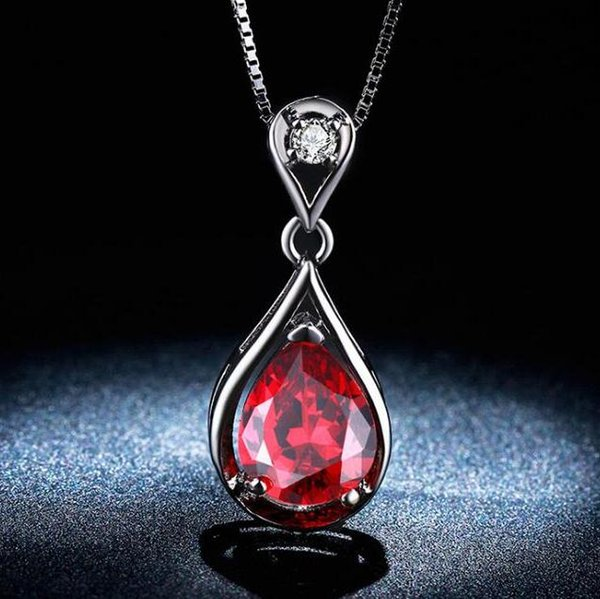 2016 Nuova collana di pietre rosse collana pendente gioielli lucenti donne cz diamante bianco 585 placcato oro accessori da sposa design abito RHN011