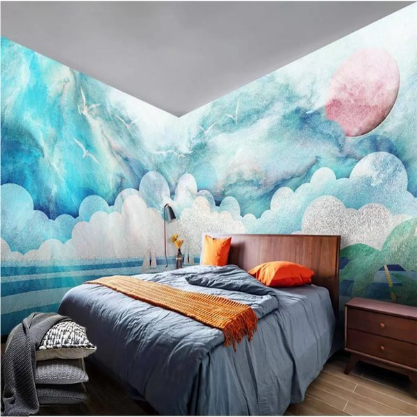 Nordic Modern Children's Room Mural Hand-painted Cute Clouds Wallpaper for Kids Room Blue Sky White Cloud The Sea Wall Paper 3D