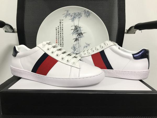 Original Box New Designer Frauen Schuhe mit hoher Qualität Mann ACE Luxus echtes Leder Freizeitschuhe blau rot Streifen Größe 35-49