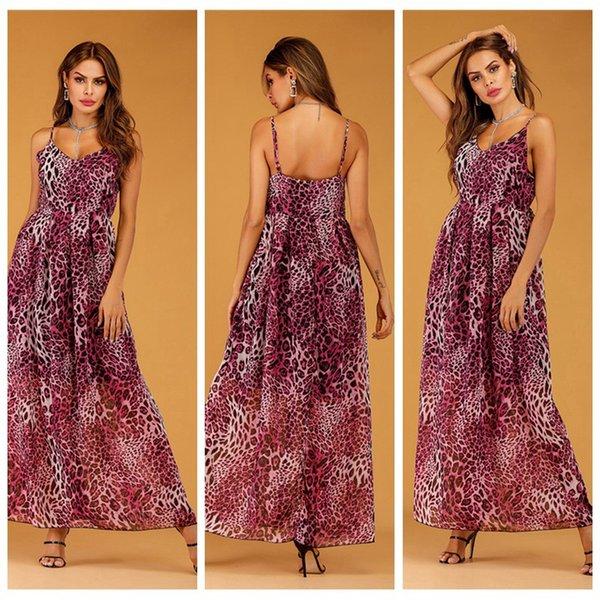 Abiti da donna scollo a V abiti asimmetrici senza maniche Lunghezza pavimento Designer abiti Sexy Leopard in chiffon con sling vestiti bohemien