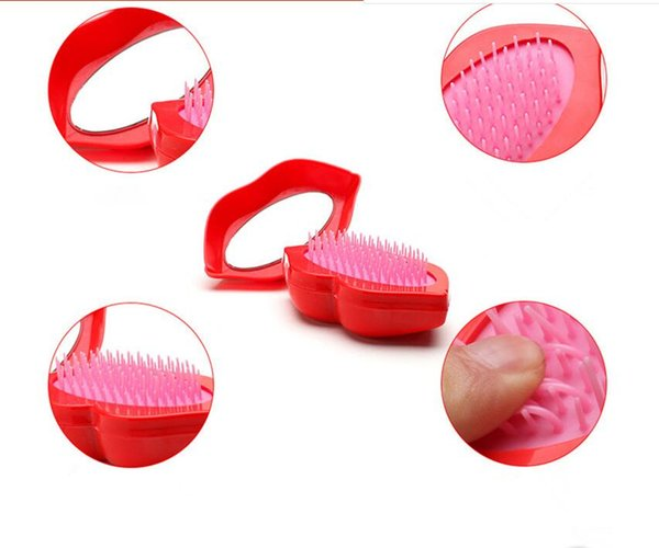 Capelli Viaggi pettine portatili Spazzole sexy con forma del labbro di massaggio del cuoio capelluto trucco Specchi Anti Stantic pettine con lo specchio di trasporto del DHL