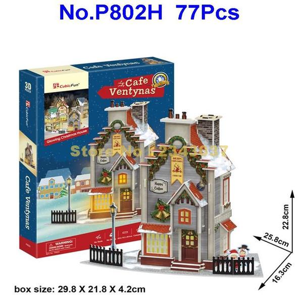 wholesale P802H 77pcs Architecture Christmas Coffee House Paper Modal 3D Puzzle With LED