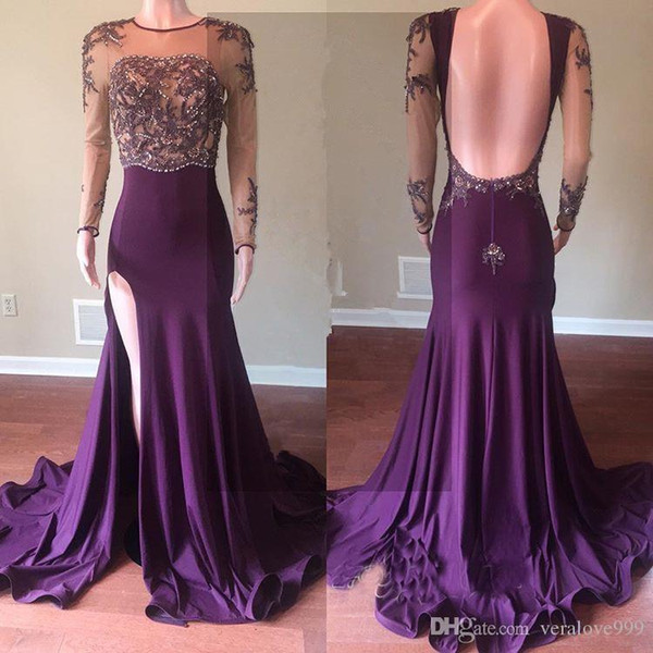 Beautiful Purple Long Sleeve 2019 Prom Dresses Mermaid Evening Gowns With Slit Beads Crystal Backless Party Evening Wear