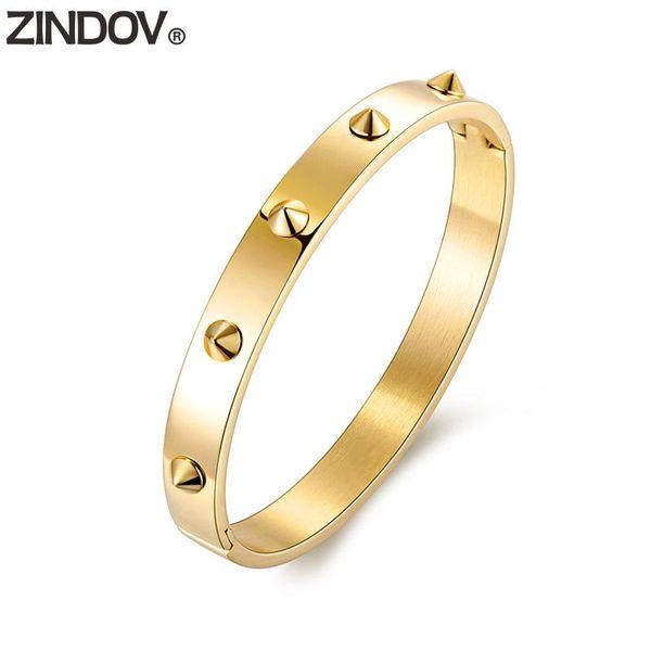 ZINDOV Rivet Brand Armreif Frauen Gold Silber Rose Gold Tone IP Überzug Spikes Edelstahl Modeschmuck Zubehör