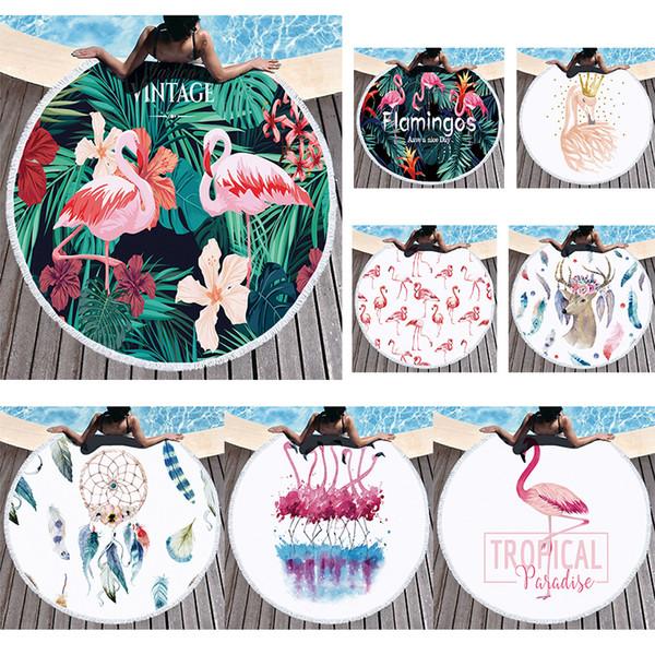 Flamingo Toalla de playa Microfibra Borla redonda Toallas de playa Mujeres Mantón Espesar Estera de yoga Alfombras de picnic al aire libre toalla de baño