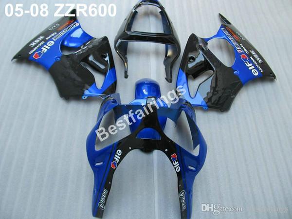 Motorcycle plastic fairings for Kawasaki ZZR600 05 06 07 08 blue black injection molded fairing kit ZZR 600 2005-2008 ZV46