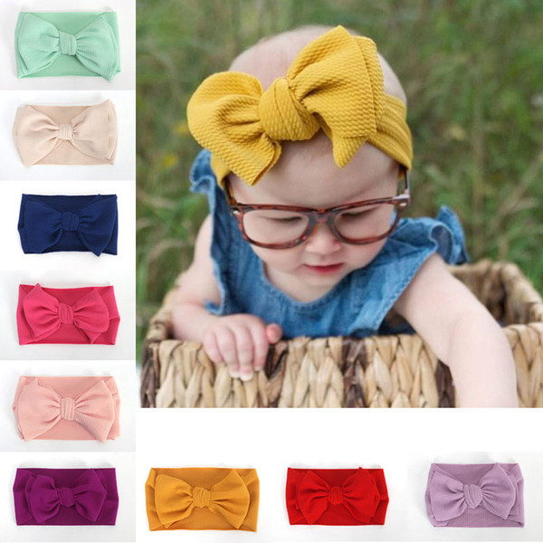 New Europe Baby Girls Tuban Big Bow Headband Kids Bowknot Hairband Children Bandanas Elastic Head Band 16 Colors 15025
