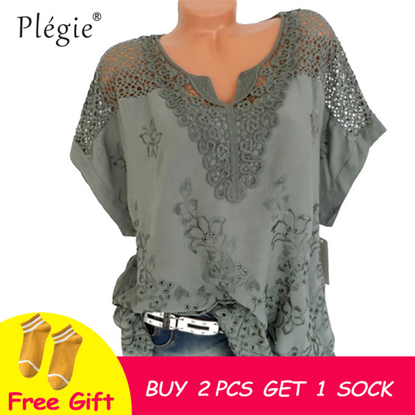 Plegie Floral Embroidery Women Shirt Blouse Hollow Out V Neck Short Sleeve Blusa Feminina 5xl Plus Size Womens Tops And Blouses J190511