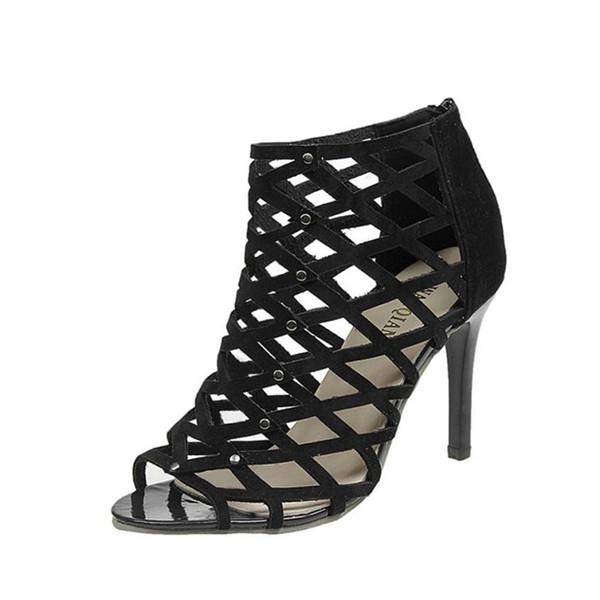 Talones O050330 Sandalias Tacones Altos Remache A Zapatos Tacón Peep Toe Alto Damas Mujer Compre Para Moda Gladiador De Romano 2019 3q54AjRL