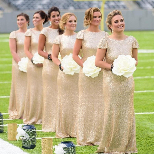 Glitter Sequined Mermaid Bridesmaid Dresses 2019 Country Crew Neck Gold Shorts Sleeves Backless Long Party Wedding Guest Maid of Honor Gowns