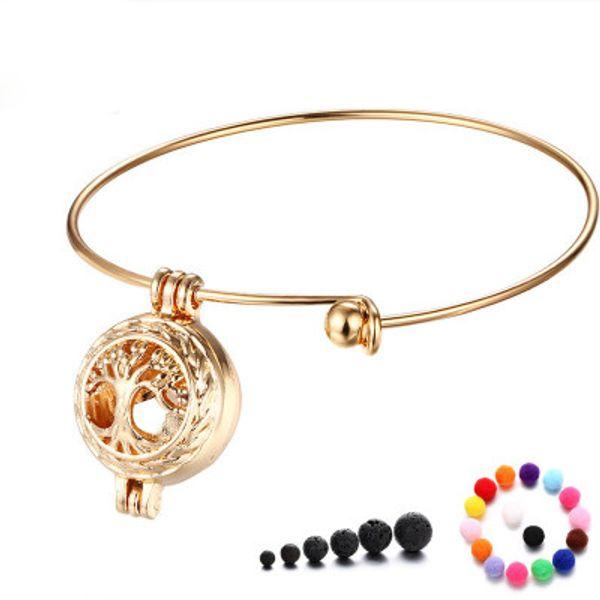 Ätherisches Öl Diffusor Armbänder Perle Zubehör Medaillon Halsketten aushöhlen Medaillon Käfig Vulkanstein Anhänger Armbänder DIY Schmuck-P