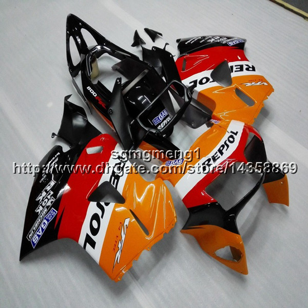 Gifts+Screws repsol red black motorcycle cowl for HONDA VFR800 1998 1999 2000 2001 ABS plastic motor Fairing kit