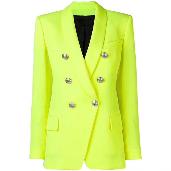 EXCELLENT QUALITY 2019 Designer baroque Blazer pour femmes dames double boutonnage boutons en métal Blazer long veste Jacket jaune