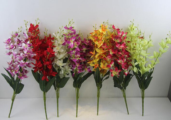 Hot sales 60cm/23.6inch Simulated orchid bouquet Seven-forked Orchid Silk Flowers Wedding Home Desktop Decoration 7 color selection no vase