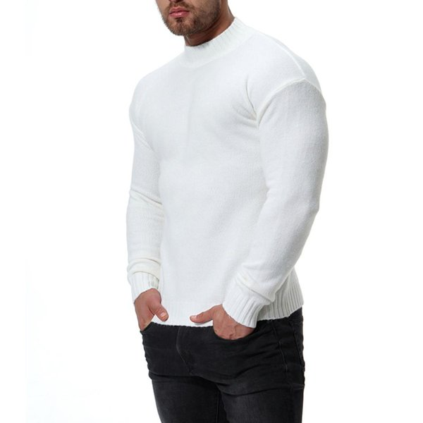 2019 new 8 colors Fall Winter Mens High-collar Bottom Blouse Knitted Round collar Slim Fit Knitting Mens Sweaters And Pullovers