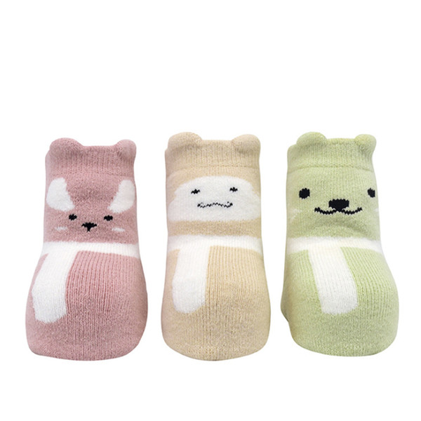 3 Pairs of Children's Socks Cotton Padded Baby Terry Socks Autumn and Winter Cotton Baby Pine Mouth Cartoon Towel Tube