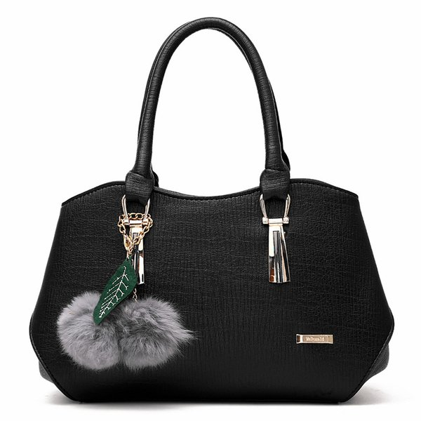 Women's Bag 2019 Fashion Trend Ladies Handbags Europe and The United States Hanging Hair Ball PU Leather Shoulder Messenger Bag