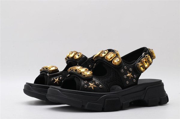 2019 New Arrival Top Quality Brand Designer Runway Women Metallic Leather Mesh Sandal With Crystals Size EURO 35-40