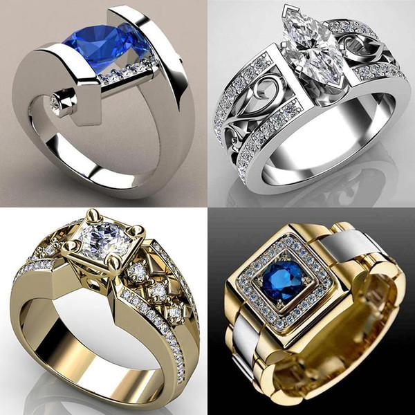 Único Pequeno Azul Branco Zircão Anel De Pedra Masculino Feminino Ouro Amarelo Banda De Casamento Jóias Promessa Anéis Para Homens E Mulheres
