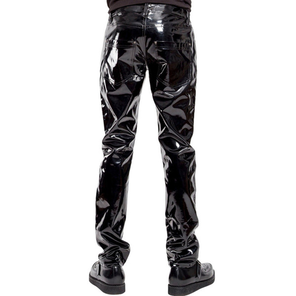 Fashion Mens Elastic Faux Leather PVC Pants Motorcycle Ridding Black Slim Fit Dance Party Trousers Wetlook Patent Leather Pants for Male W92