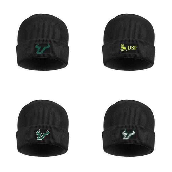 South Florida Bulls footall logo Cap strato di lana Womens doppio maschile lavato Knit Caps Unisex Grigio Camouflage Logo Marmo stampa nera