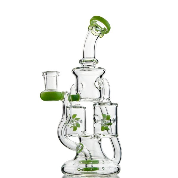 New Arrivals Double Recycler Glass Bongs Propeller Percr Water Pipe Design with 14mm Female Joint Oil Dab Rigs XL167